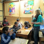 Abby talks with students in her class at San Martin.