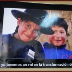 A poster on the wall at World Vision: You and I have a role in the transformation of Peru.