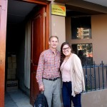 Duane and Frances pose in front of the World Vision offices.