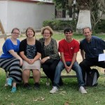 Duane and Karen pose with Jessica, Adriene and Armando in the Harvest school courtyard.