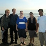Karen and Duane pose with Jessica and her host parents on the beach in Santa Rosa.