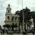 The cathedral that grounds the main plaza in Chicalayo.
