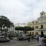 A view of the municipal building from the cathedral in Chiclayo.