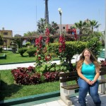 Adriene sits in the main plaza in her host town of Pimentel.