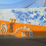 A mural near the beach in the town of Pimentel.