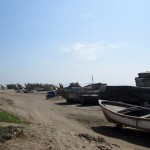 Many fishing boats on the beach in Pimentel.