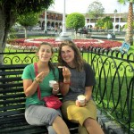 Mariah and Elizabeth enjoy ice cream in the central plaza of Ayacucho.