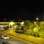 The central plaza in Ayacucho at night.