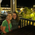 Mariah and Elizabeth pose at the restaurant where we had our supper overlooking the plaza.