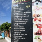 Tourist menu at the mirador, with many Ayacucho favorites.
