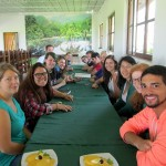 Students waiting to eat lunch at Kawai retreat center.