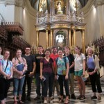 In the Lima Cathedral near the main (gold-plated) altar and the carved wooden choir stalls.