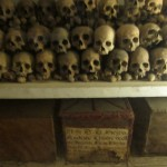 Skulls in the crypt of the Lima Cathedral.