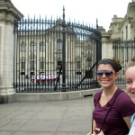 Maria and Courtney pose in front of the Government Palace during the changing of the guard.