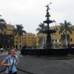 Courtney poses in front of the fountain in Lima's main plaza.