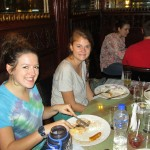 Lea and Joanna enjoying their first menu lunch in Lima.