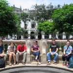 The perfect marble bench for a group of nine in Plaza San Martin.