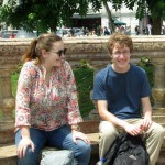 Elizabeth and Christian at Plaza San Martin in central Lima.