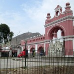 Entering the District of Rimac (near central Lima). The ornamental colonnade of the Paseo de Aguas.