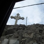 A final view of the cross as we head down the hill.