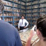 Our guide, Miguel Angel Medina, shows us the vast collection of ceramics in one of the storage rooms.