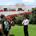 Our guide, Miguel Angel Medina, talks with us in the garden outside the museum.