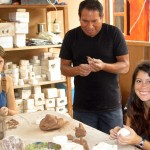 Juan Carlos works with Joanna and Maria on his side of the studio.