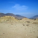 First view of the ancient city of Caral.
