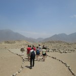 Starting our tour through the archaeological site of Caral.