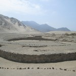 Overlooking the amphitheater in Caral.