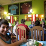 Celia and students enjoying their meal in Chancay.