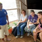 Karen, Elizabeth and Jo with Oswaldo in front of his new home-in-process.