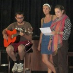Ike, Jo and Elizabeth rehearse a song.