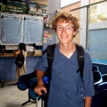 Christian before getting on the bus with Maria for service in Tarma.