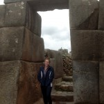 Courtney poses in a doorway at Saqsayhuaman.