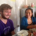 Ammon with his host mother, Elizabeth Huarcaya Yarasca during lunch at their home.