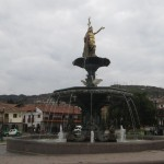 The fountain in the center of the main plaza was recently topped by a controversial Inca statue.