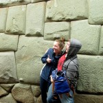 Courtney and Ammon pose by the 12-angled stone in Cusco city.