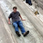 Micah takes his turn sliding at Saqsayhuaman.