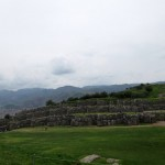 A long view of the limestone stonework at Saqsayhuaman.