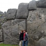 Christian and Ammon by the biggest carved boulder at Saqsayhuaman (which weighs approximately 70 tons).