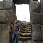 Micah poses in a doorway at Saqsayhuaman.
