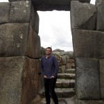 Ike poses in a doorway at Saqsayhuaman.