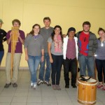 A group photo with the musicians before leaving to meet our host families.