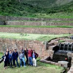 Amadeo takes a group photo on one of the Tipón terraces.