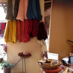 Some of the yarns after they have been dyed.