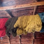 Wool is hung to dry after it is dyed.