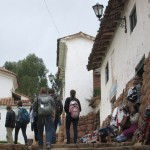 Walking to the church, past one of many shops in Chinchero.