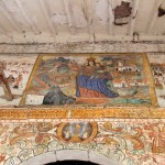 Some of the paintings that remain on the walls outside the church in Chinchero.