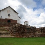 The adobe church in Chinchero from the grounds below.